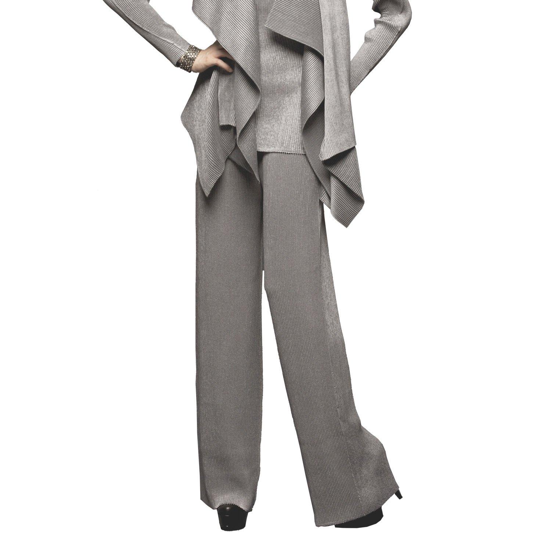 SPECCHIO PLEATS Women's Wide Leg Long Pants come with a Petticoat One size Grey
