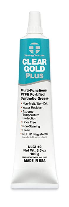 Tribology/Tech-Lube Tribology Clear Gold Plus Multi-Purpose PTFE Lubricant, NSF H1 Food Grade Grease, 3.5 oz. (CG-Plus)