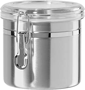 Oggi Stainless Steel Canister with Clear Acrylic Lid and Locking Clamp, 36-Ounce, Silver