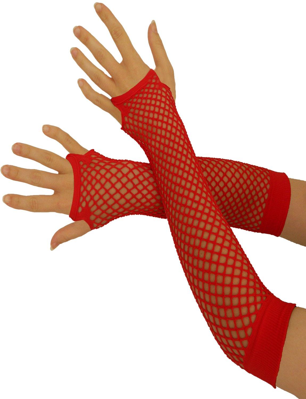 Yummy Bee Womens Fishnet Fingerless Gloves Short Long Black Long 5055738444898