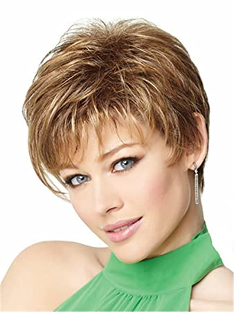 Women Wigs Natural Highlights Short Blonde Wig Synthetic Afro Hair Puffy Straight Short Wigs For Black