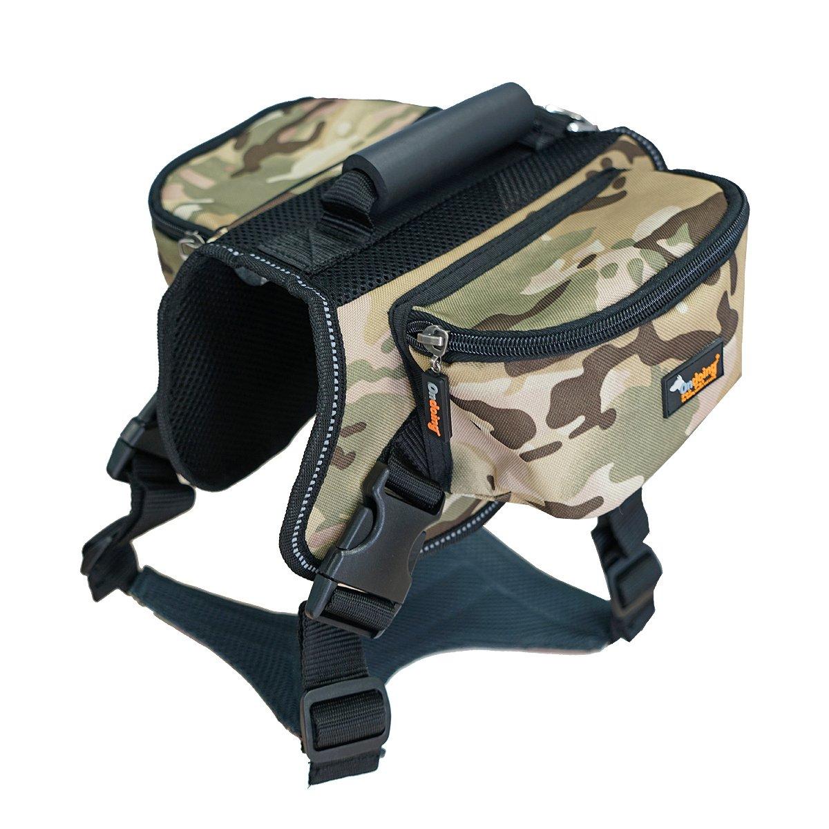 Ondoing Dog Backpack Adjustable Dog Saddle Bag Dog Pack Pet Harness with Reflective Strip for Medium and Large Dogs Training Hiking Camping L Camoflauge