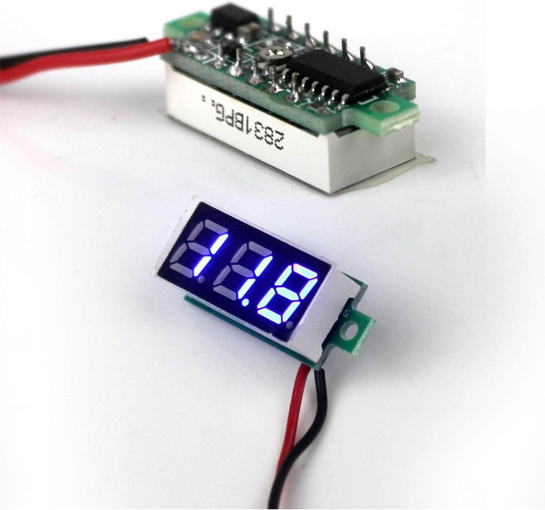 4 Colores Monitor de bater/ía para Coche CC 2,5 V-30 V Ytian Medidor de Voltaje 0,71 cm Pantalla LED Motocicleta volt/ímetro Digital 2 Cables