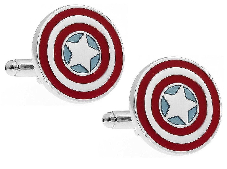 PONTITIES Captain America Shield Cufflinks + Presentation Gift Box