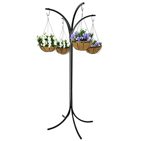 BBBuy Yard Tree Plant Stand Heavy Duty 4 Arm Tree With 4 Hanging Baskets  Display