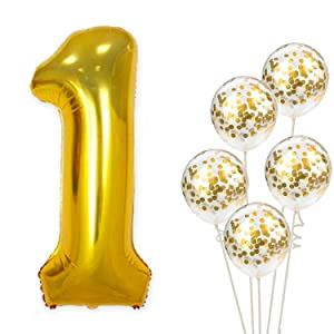 Large, Number 1 and Gold Confetti Balloon - 1st Birthday Party Decorations | First Party Supplies for Engagement, Anniversary, Winner, Baby Shower Wedding - 32 Foot Balloons String