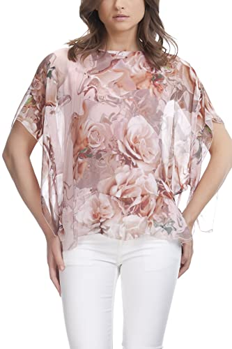 Laura Moretti - Blusa de seda con estampado de rosa y agua