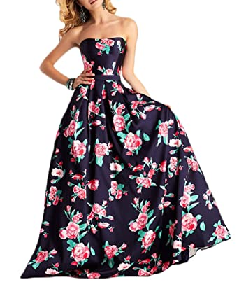Z Sexy Strapless A Line Spring Floral Princess Prom Dresses Long Formal Evening Party Gowns For Women New at Amazon Womens Clothing store:
