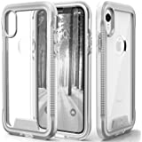 Zizo ION Series Compatible with iPhone XR Case Military Grade Drop Tested with Tempered Glass Screen Protector Silver Clear