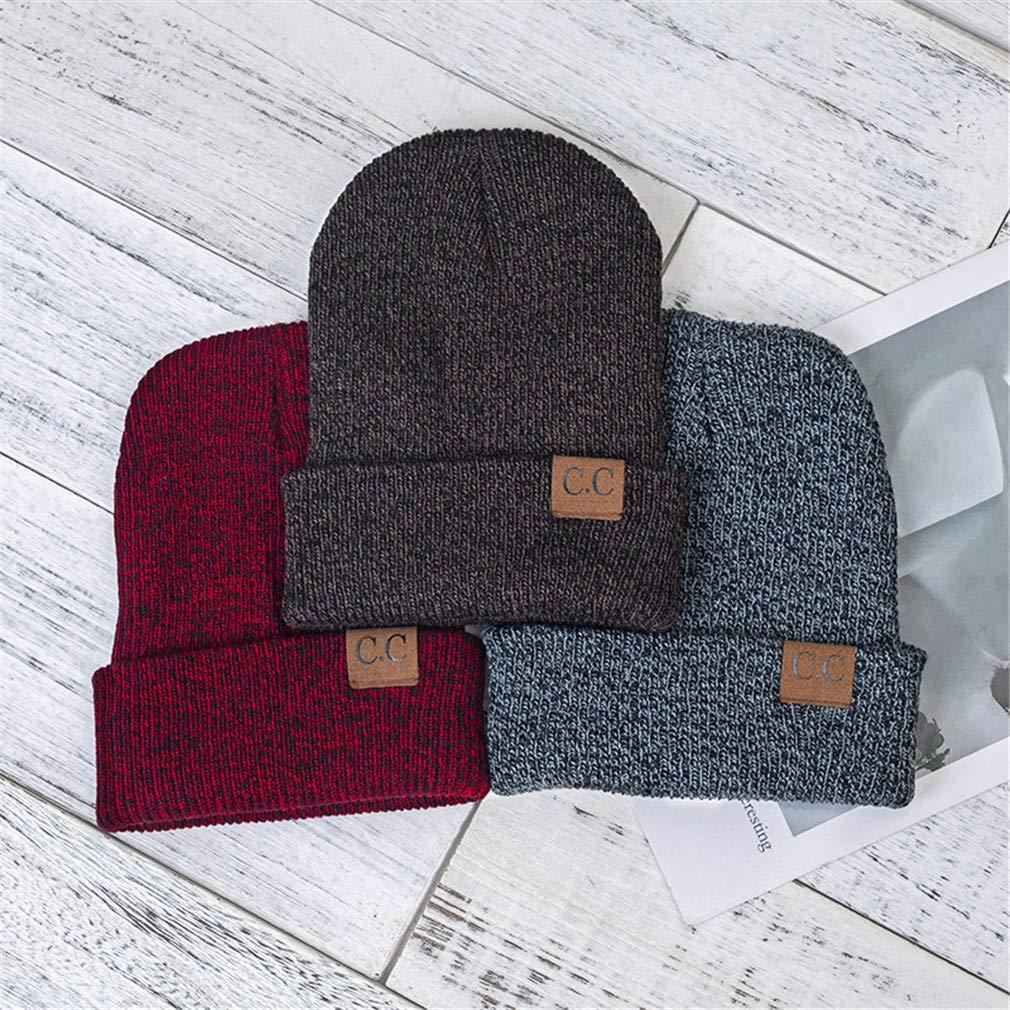 GYIAFJ Beanie Unisex Womens Cotton Solid Hip HOP Knitted Hat Men Women Winter Warm Ski Caps Skullies Beanies