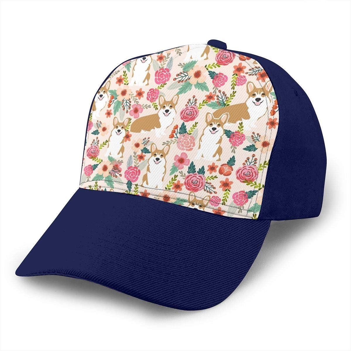 Classic Comfortable Cute Corgi Spring Floral Nature Flowers Adjustable Baseball Cap