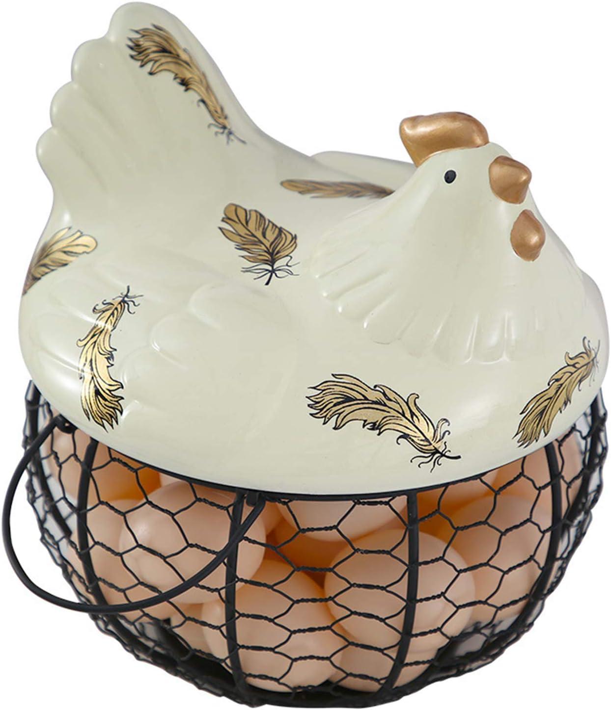ZYXZXC Cesta Almacenamiento Huevos RúSticas para,Canasta Huevos Hierro Forjado,DecoracióN De Gallina,Antiguo Artesano Pintura Meticulosa Hecha A Mano Aspecto Elegant,Beige (Black Basket)