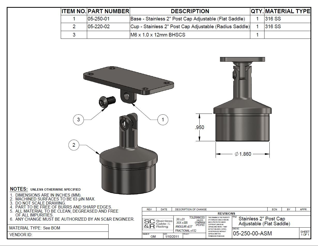 T 316 Stainless Steel Round Post Cap Component for Adjustable Flat Wood / Stainless Steel Top Hand Rail Attachment, Cable Railing Deck (Intermediate Posts)