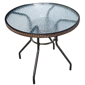 Amazon.de: 80 cm Rattan Tisch rund W/5 Tempered Glas für Indoor ...
