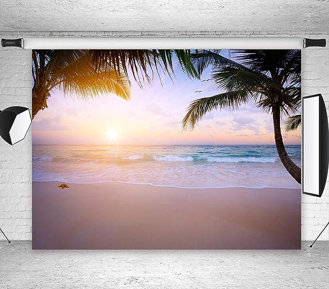 7x10 FT Hawaiian Vinyl Photography Backdrop,Hawaiian Sunset on Big Island Anaehoomalu Bay Ocean Romantic Resort Background for Party Home Decor Outdoorsy Theme Shoot Props