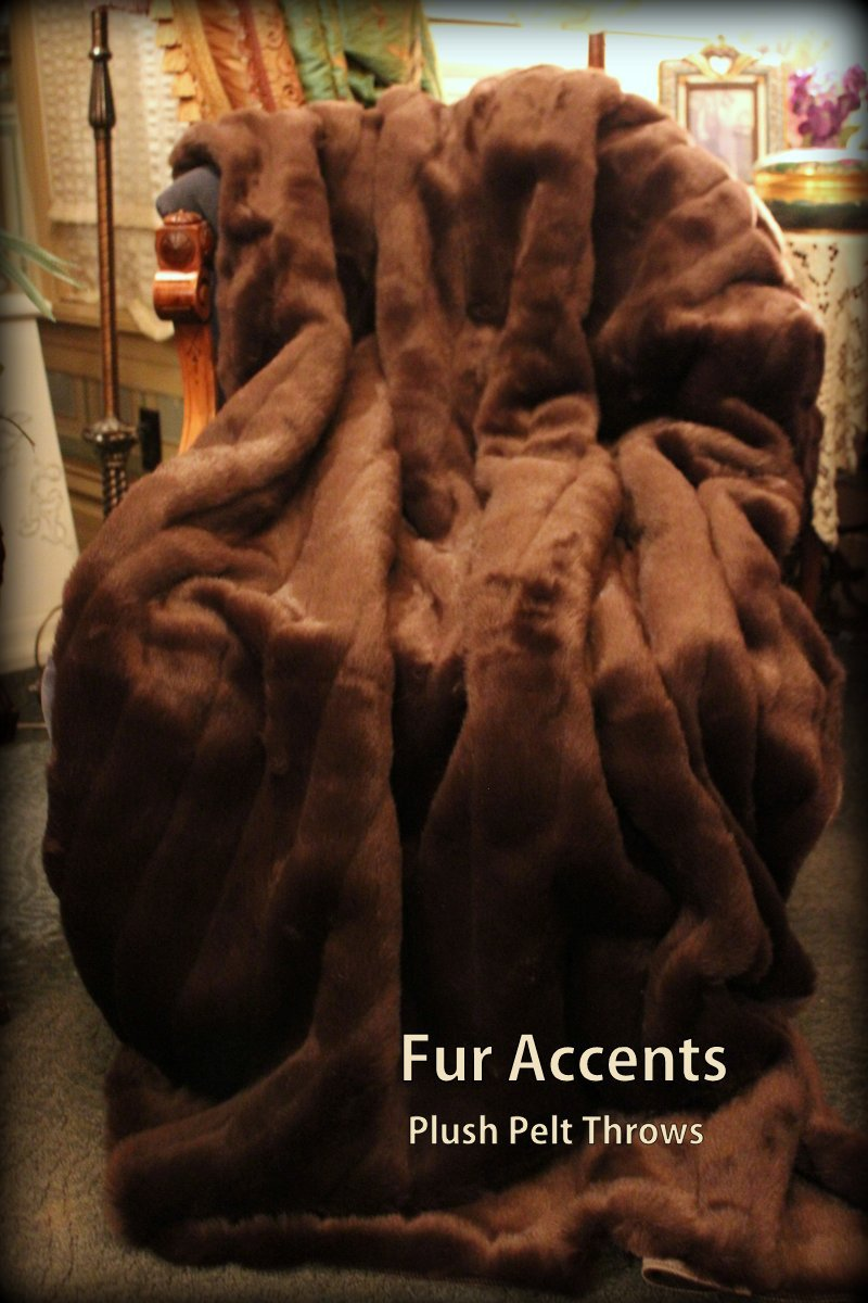 Fur Accents Faux Fur Throw Blanket / Brown Ribbed Mink Faux Fur /60'' X 70''