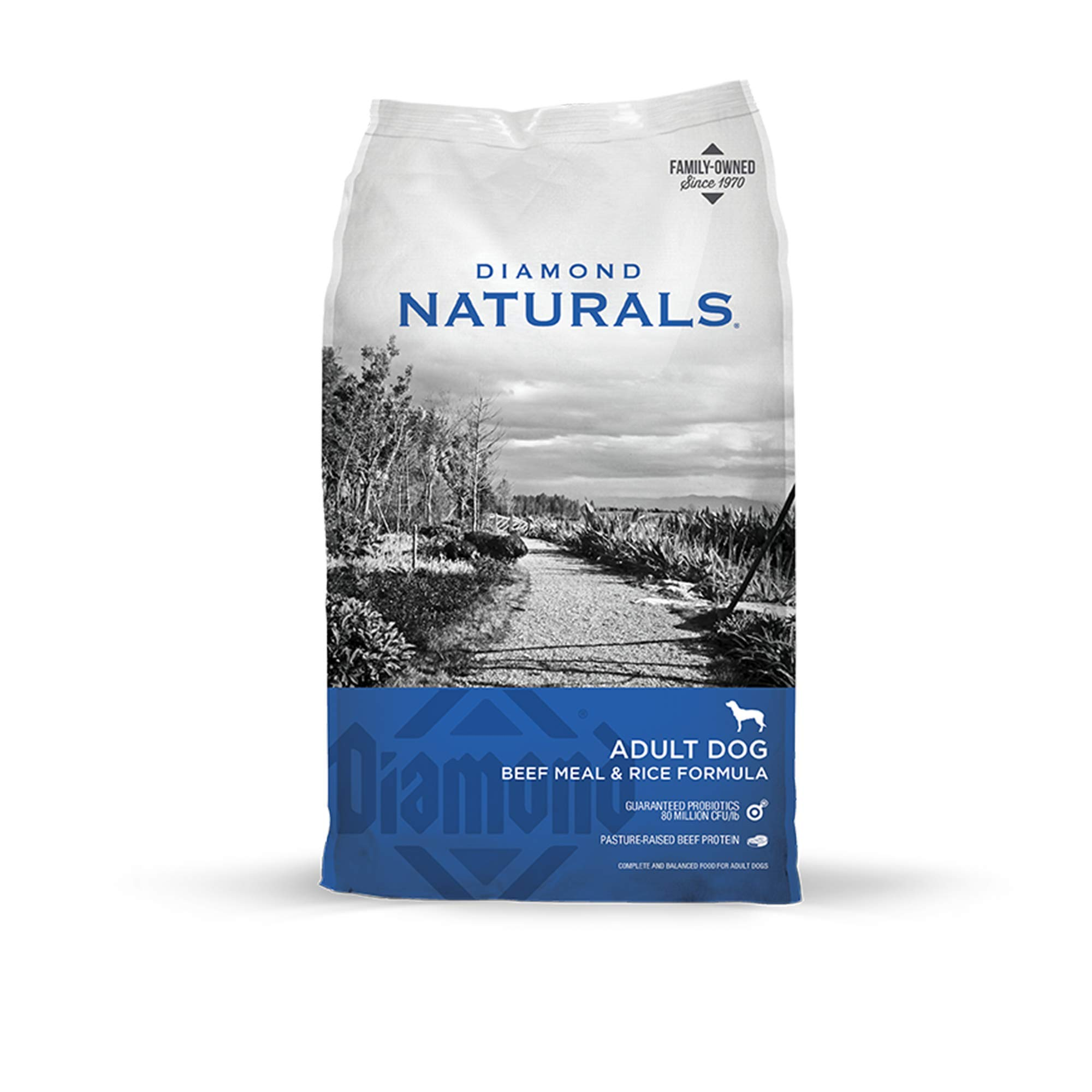 Diamond Naturals Adult Real Meat Recipe Premium Dry Dog Food With Grain and Real Pasture Raised Beef Protein 40Lb by DIAMOND NATURALS