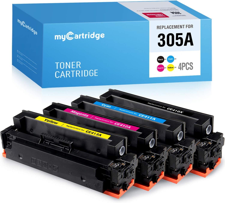 MYCARTRIDGE Remanufactured Toner Cartridge Replacement for HP 305A CE410X CE411A CE412A CE413A (Black, Cyan, Yellow, Magenta, 4-Pack) for Laserjet Pro 400 Color MFP M475dn M475dw M451dn M451dw M375nw