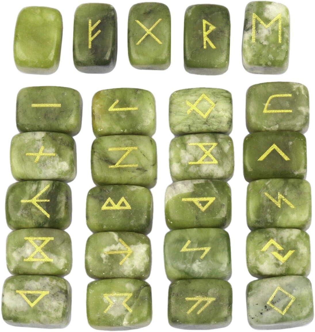 mookaitedecor Rune Stones Set with Engraved Elder Futhark Alphabet Crystal Meditation Divination,Green Jade