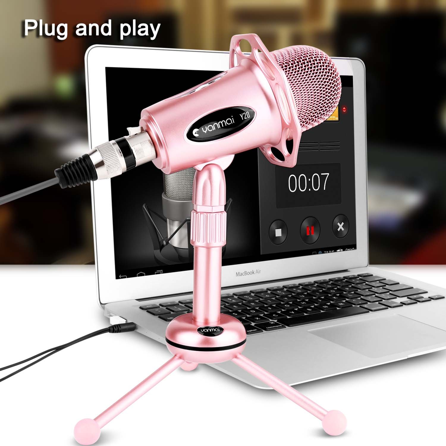 Professional Condenser Microphone, Venoro Plug & Play Home Studio Condenser Microphone with Tripod for PC, Computer, Phone for Studio Recording, Skype, Games, Podcast, Broadcasting (Rose Gold) ... by Venoro (Image #6)