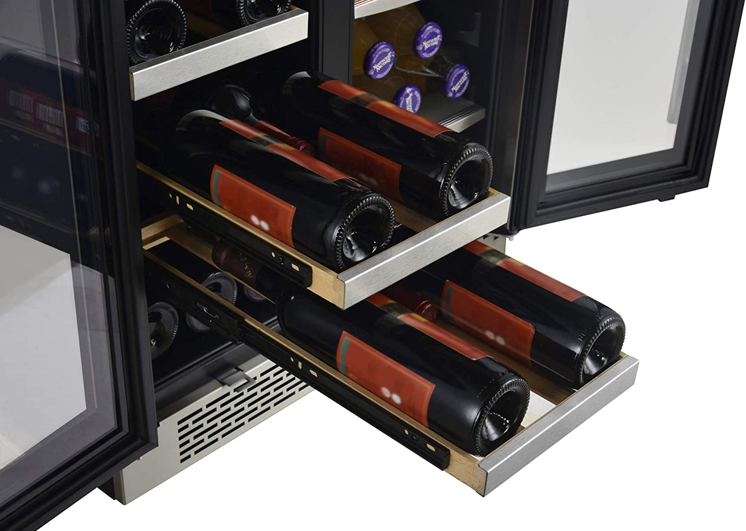 Amazon Com Avallon Awbc241ggfd 24 Inch Wide 21 Bottle And 60 Can Capacity Built In Wine And Beverage Cooler With French Doors Appliances