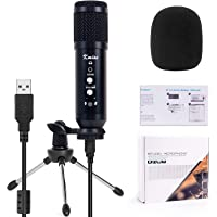 Micrófono condensador USB para gaming, podcast Broadcast ASMR con soporte de micrófono ajustable para Windows Mac…