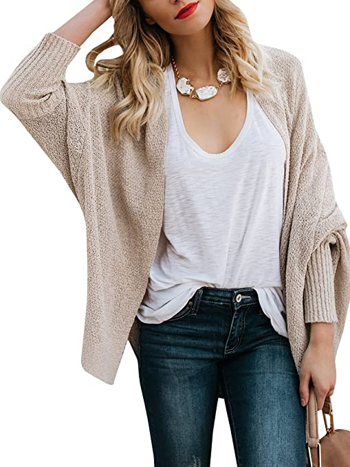 0051bf04c2 Saodimallsu Womens Boho Oversized Knit Open Front Cardigans Casual Long  Sleeve Pullover Sweater Blouses at Amazon Women s Clothing store