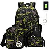 ABage Kid's School Bag Laptop Backpack Bookbag for Boys and Girls with Charging Port Green