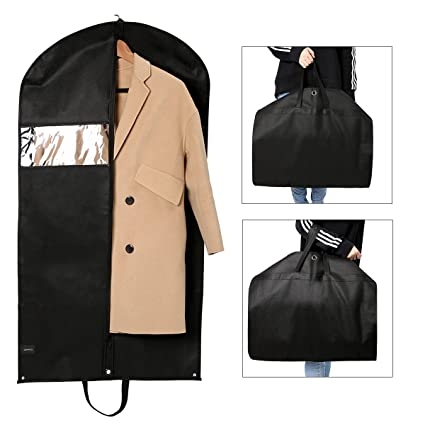aab041a8eb Image Unavailable. Image not available for. Color  GEMITTO Set of 2  Breathable Garment Bag Foldable Suit Bag with Handles Dustproof Travel  Clothes Cover