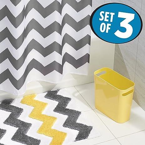 MDesign Chevron Fabric Shower Curtain, Microfiber Bathroom Accent Rug, Wastebasket  Trash Can   Set