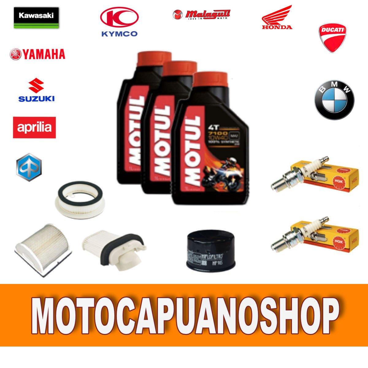 Kit de revisió n y cambio de aceite para motocicletas Yamaha T-MAX 500 formado por: aceite 7100, filtros y bují as 2004, 2005, 2006 y 2007 filtros y bujías 2004 MotoCapuano 151636980046