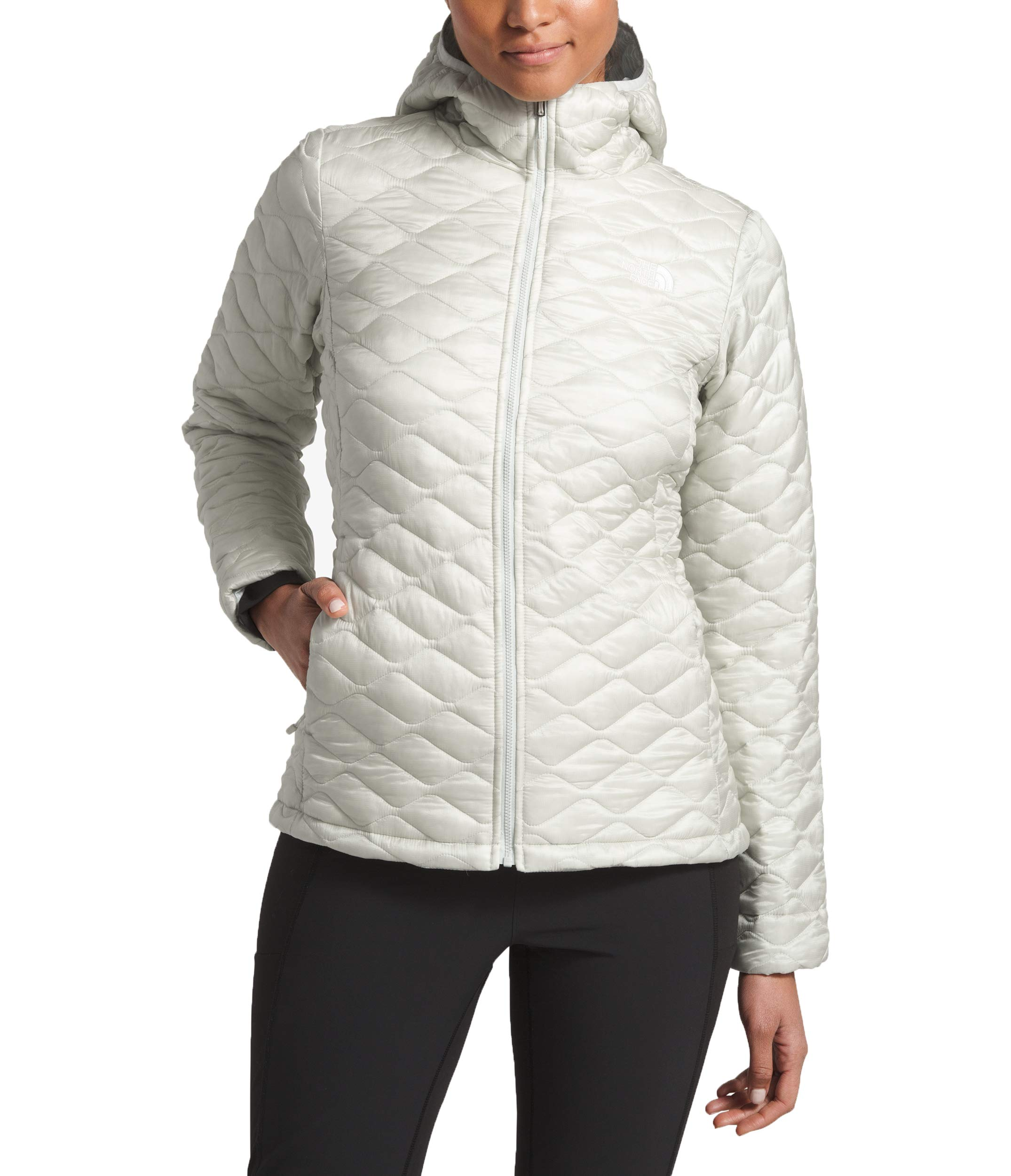 The North Face Women's Thermoball Hoodie, TIN Grey/TNF White Ginkgo Print, X-Large