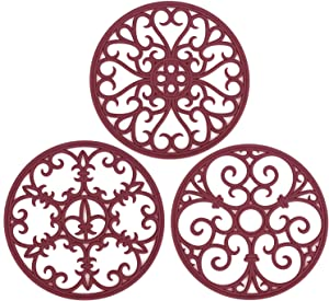 Non Slip Silicone Carved Trivet Mats Set For Dishes- Heat Resistant Coasters-Modern Kitchen Hot Pads For Pots & Pans | (Round, Set of 3, Burgundy)