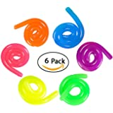 6 Neon Stretch Strings For ADD / ADHD Stretch Toy Stress Reliever Fidget Toy Sensory Toys - Stretches From 13 Inches To 10 Feet Long!