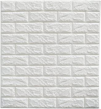Cmming 3d Brick Wall Stickers Pe Foam Self Adhesive Wallpaper Peel And Stick 3d Art Wall Panels For Tv Walls Sofa Background Wall Decor White Home Kitchen
