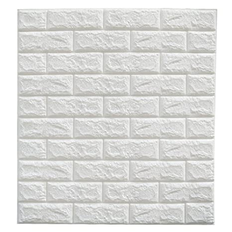Cmming 3d Brick Wall Stickers Pe Foam Self Adhesive Wallpaper Peel And Stick 3d Art Wall Panels For Tv Walls Sofa Background Wall Decor White