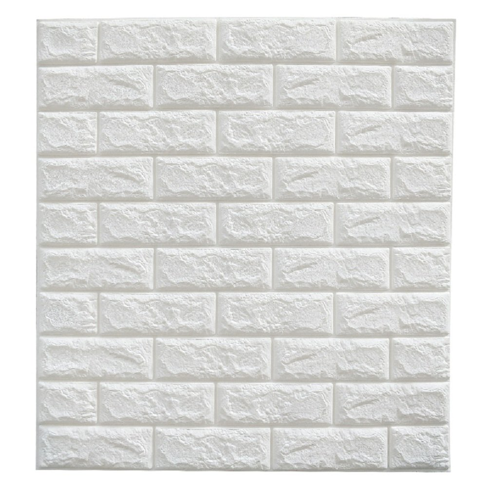 Adhesive Whiite Faux Brick Panels In Accent Wall: 20PCS 3D Brick Wall Stickers PE Foam Self-adhesive