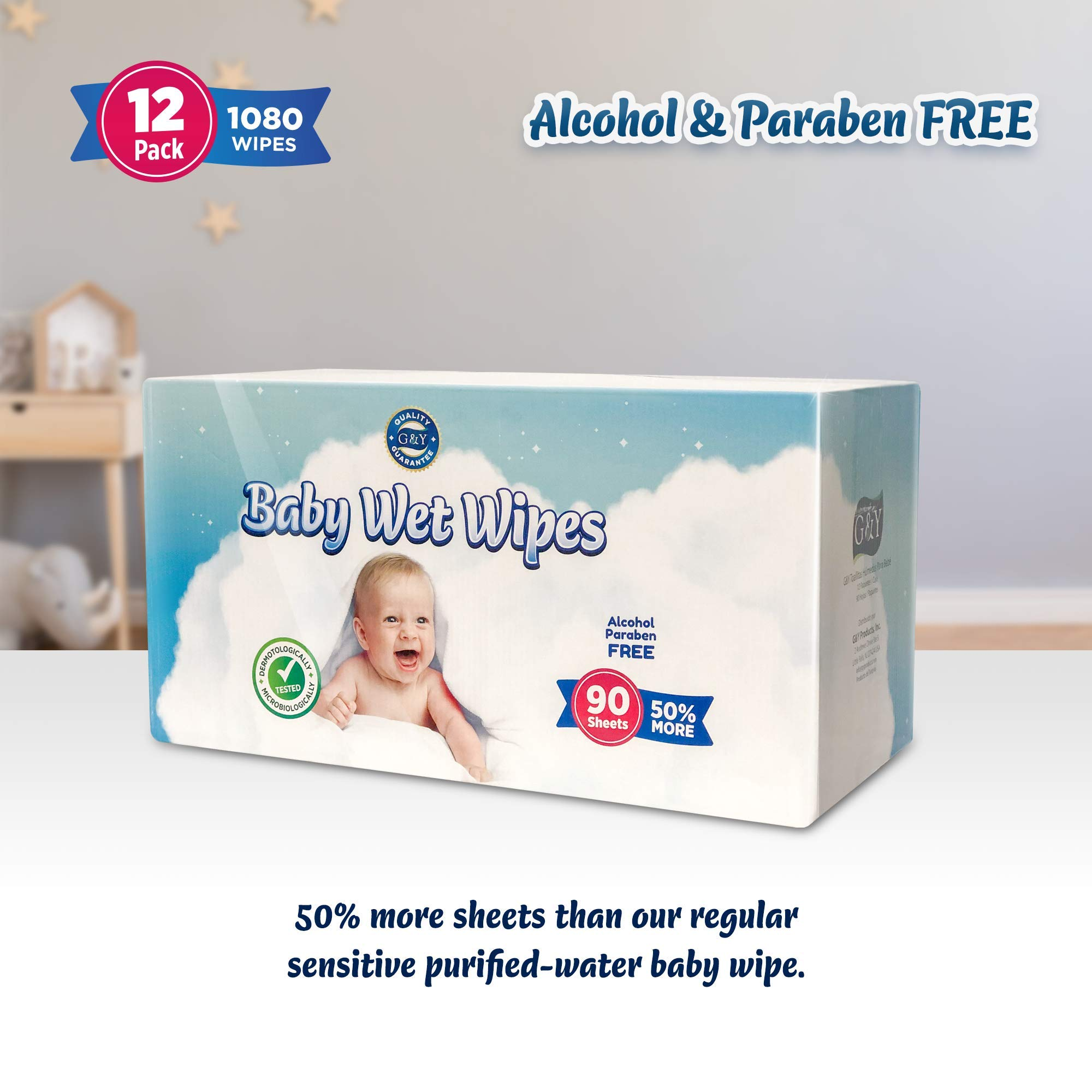 Charmy Baby Sensitive Purified Water Wipes, 1080 Count, 12 Boxes of 90, Powder Scented by G&Y