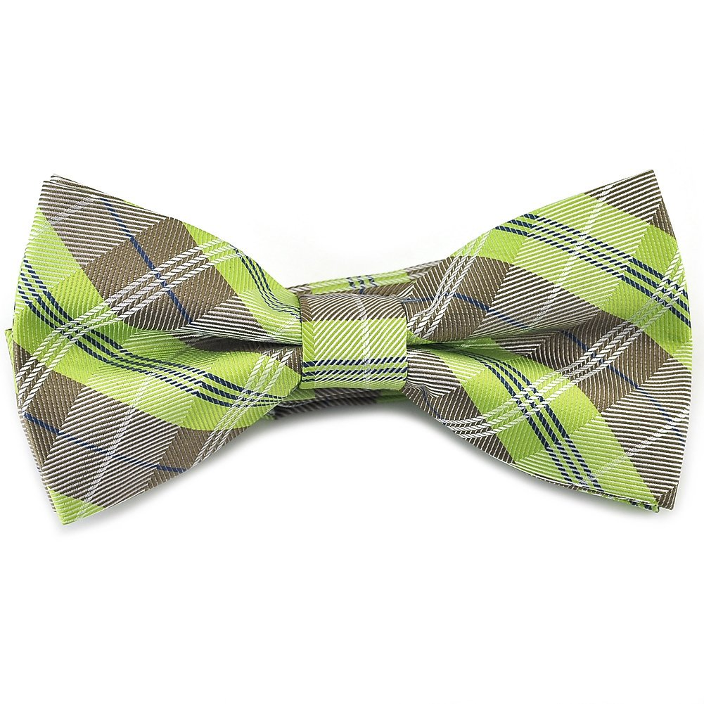 PenSee Mens Pre-tied Bowtie Plaid Checks Formal Tuxedo Bow Ties-Various Colors