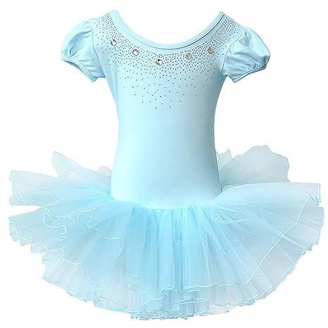 9123ad4b7 BAOHULU Kids Leotards for Dance Short Sleeve Rhinestone Ballet Tutu Dress  for Little Girls 3-