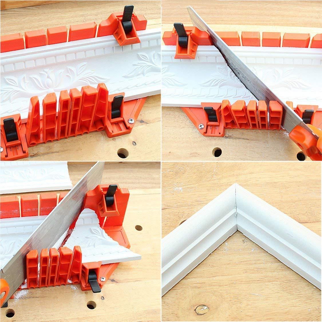Caja de ingletes de sujeci/ón oblicua multiusos Caja de sierra de /ángulo diferente Herramienta de carpinter/ía de sierra de arco ajustable para corte de madera