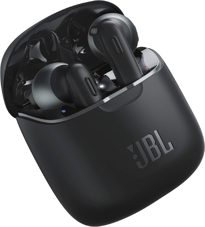 JBL Tune 220 - Auriculares inalámbricos con Bluetooth y JBL Pure Bass Sound, 20 h de música continua y estuche de carga inteligente, negro