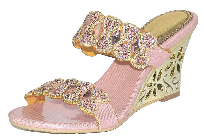 2258830c2d086a Honeystore Women s Bow Knot Rhinestone Sheepskin Hollow Wedge Heel Sandals  Pink 8 UK  Amazon.co.uk  Shoes   Bags