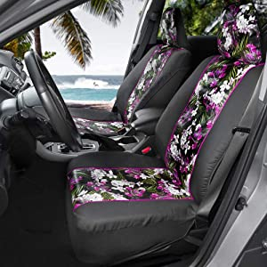 BDK FreshProtect Catalina Floral Sideless Fun Graphic All Protective Front Seat Covers for Auto Cars -Sedan Truck SUV Minivan - Non Fade - Universal 2 Piece