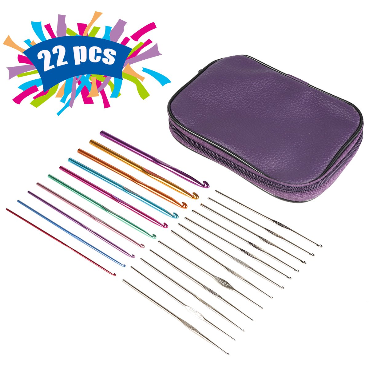 Knitting Needles Set Kits, Pococina 22 PCS Aluminium Crochet Hooks with Portable Compact Case … (Purple) Meishengfa PO-001