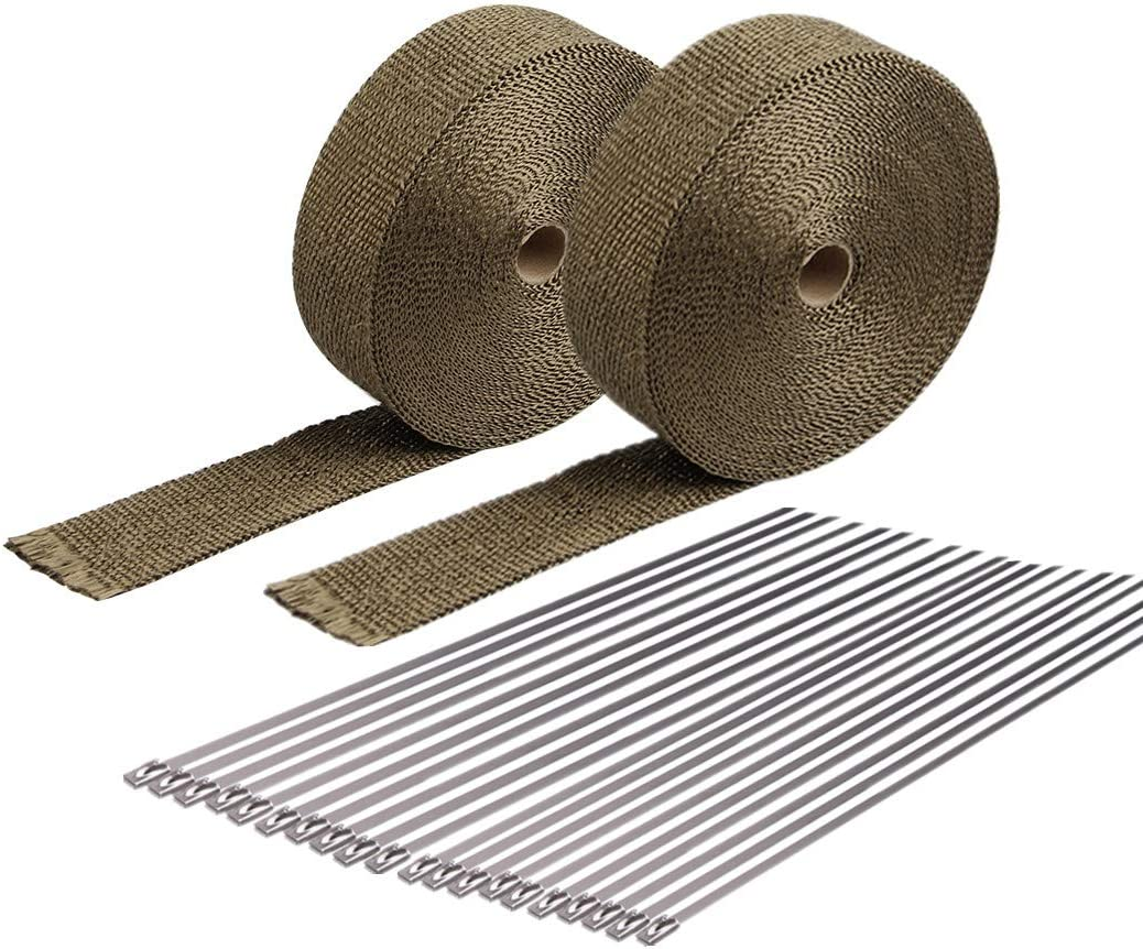 "HMFC 2 Roll 2""x 15'Titanium Exhaust Wrap For Motorcycle Fiberglass Heat Shield Tape with Stainless Ties"