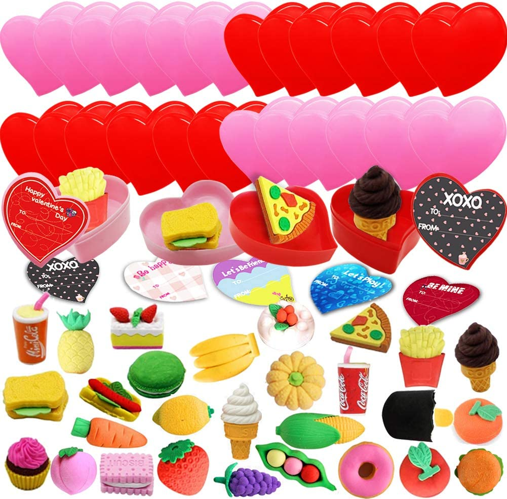 28 Packs Kids Valentines Party Favors Set with Fruits Food Puzzle Erasers Filled Hearts and Valentine Sticker for Kids Valentine Day School Classroom Game Prizes, Valentines Gift Exchange Supplies