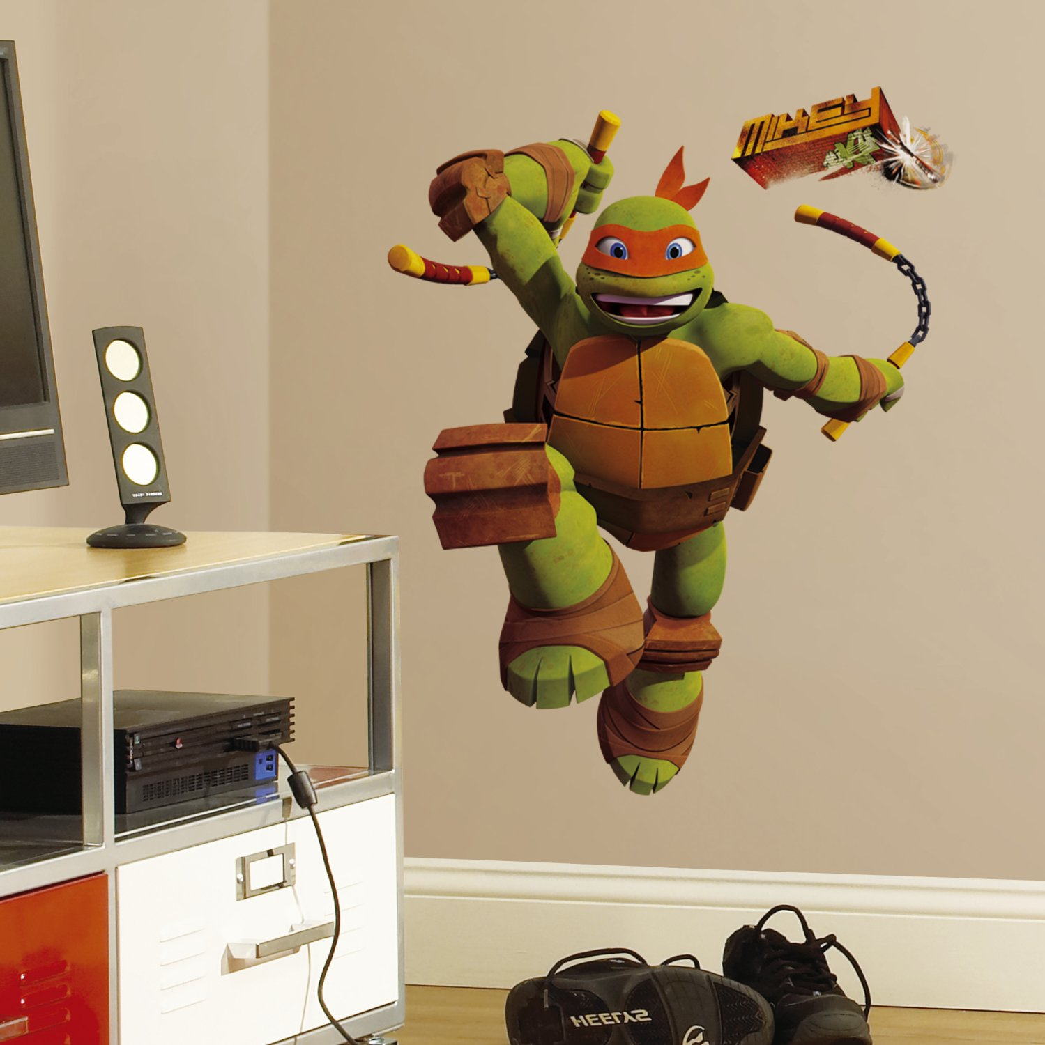 Roommates rmk2250gm teenage mutant ninja turtles mike peel and roommates rmk2250gm teenage mutant ninja turtles mike peel and stick giant wall decals decorative wall appliques amazon amipublicfo Image collections