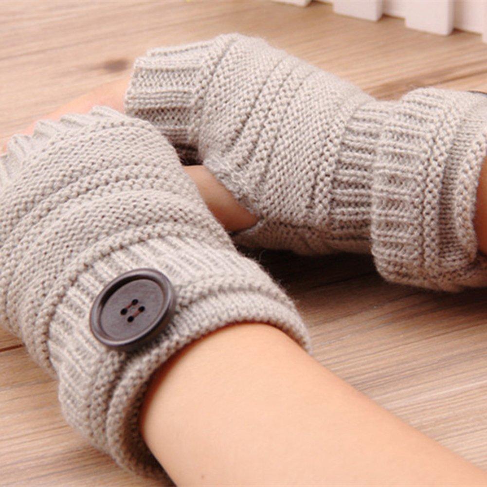 Qinlee Halb Handschuhe Gestrickte Winter W/ärmer Handschuhe mit Knopf Damen Fingerlose Armstulpen Einfarbig F/äustlinge Winter Zubeh/ör f/ür M/ädchen