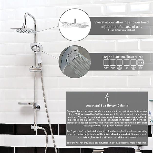 AQUALONA Aquacapri Spa Shower Column Rigid Riser Kit Chrome ...
